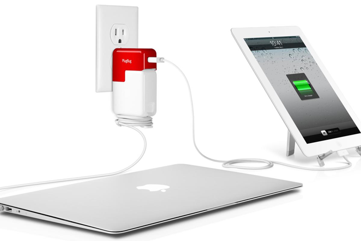 The PlugBug piggybacks on a MacBook adapter to provide a USB charge port for an iDevice