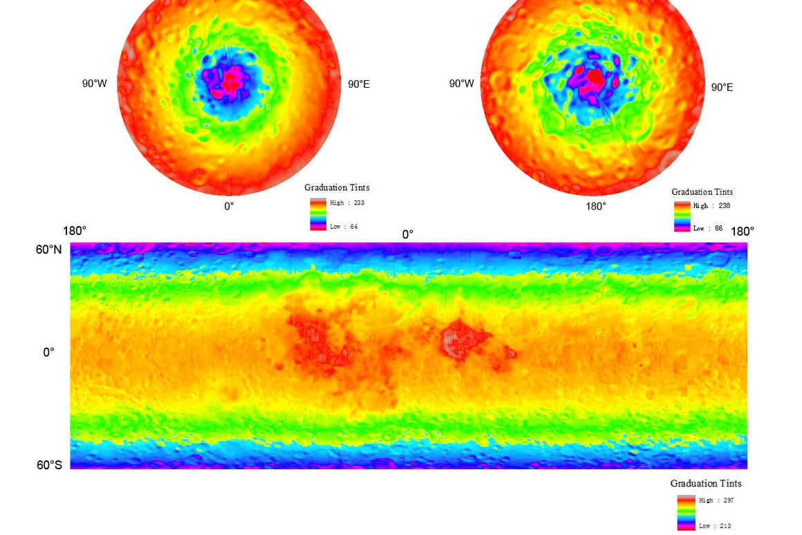 Lunar Microwave Radiometer Daytime Brightness Temperature map of the Moon