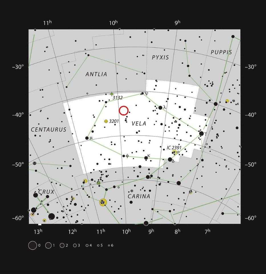 The location of WASP-19b, in the constellation of Vela