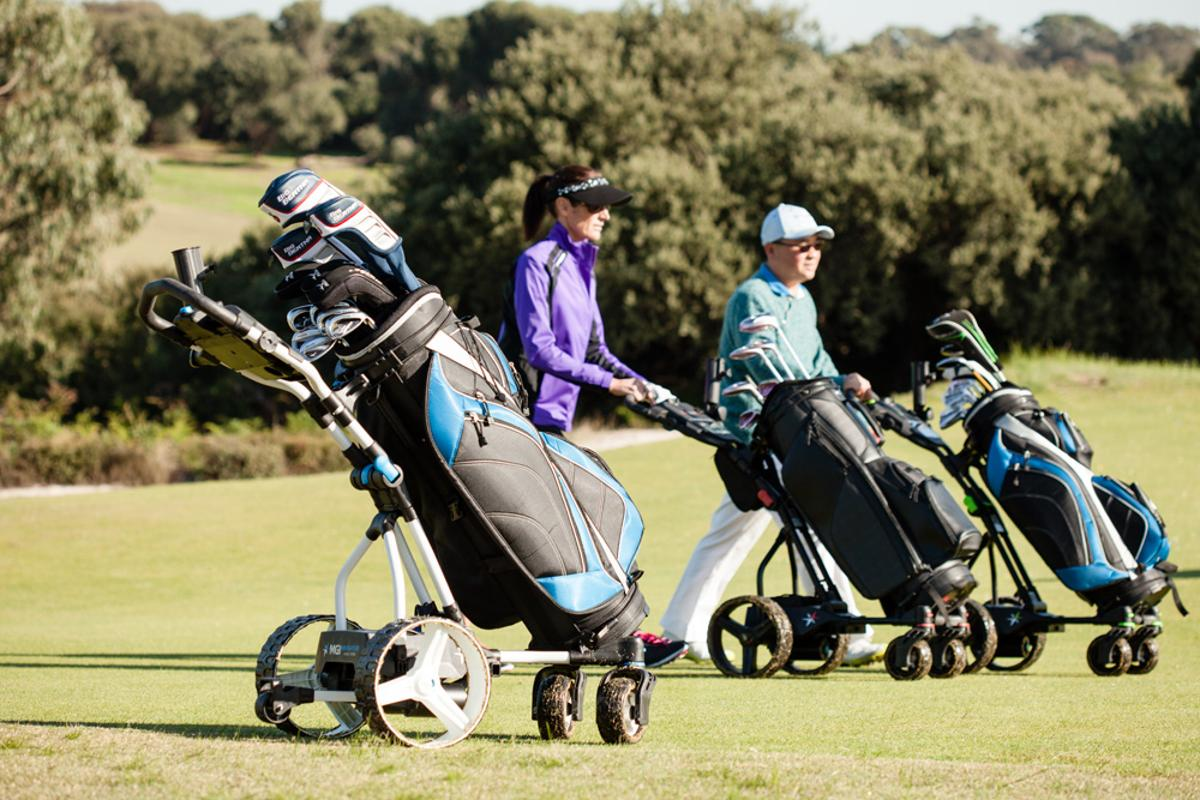 No more running back and forth to your bag for that 9 iron, just whip out the remote and call the Navigator Quad Gyro cart to your side