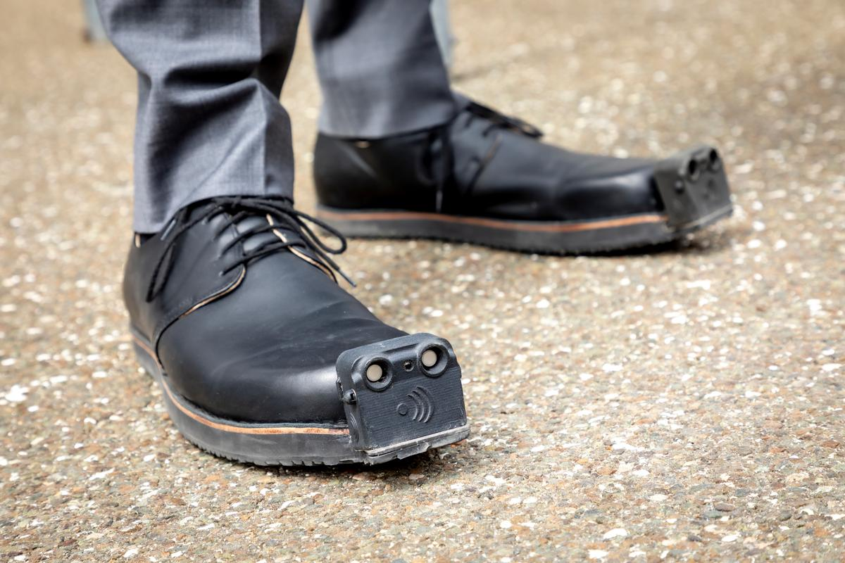 The current version of the InnoMake shoes, which have ultrasound sensors but no cameras