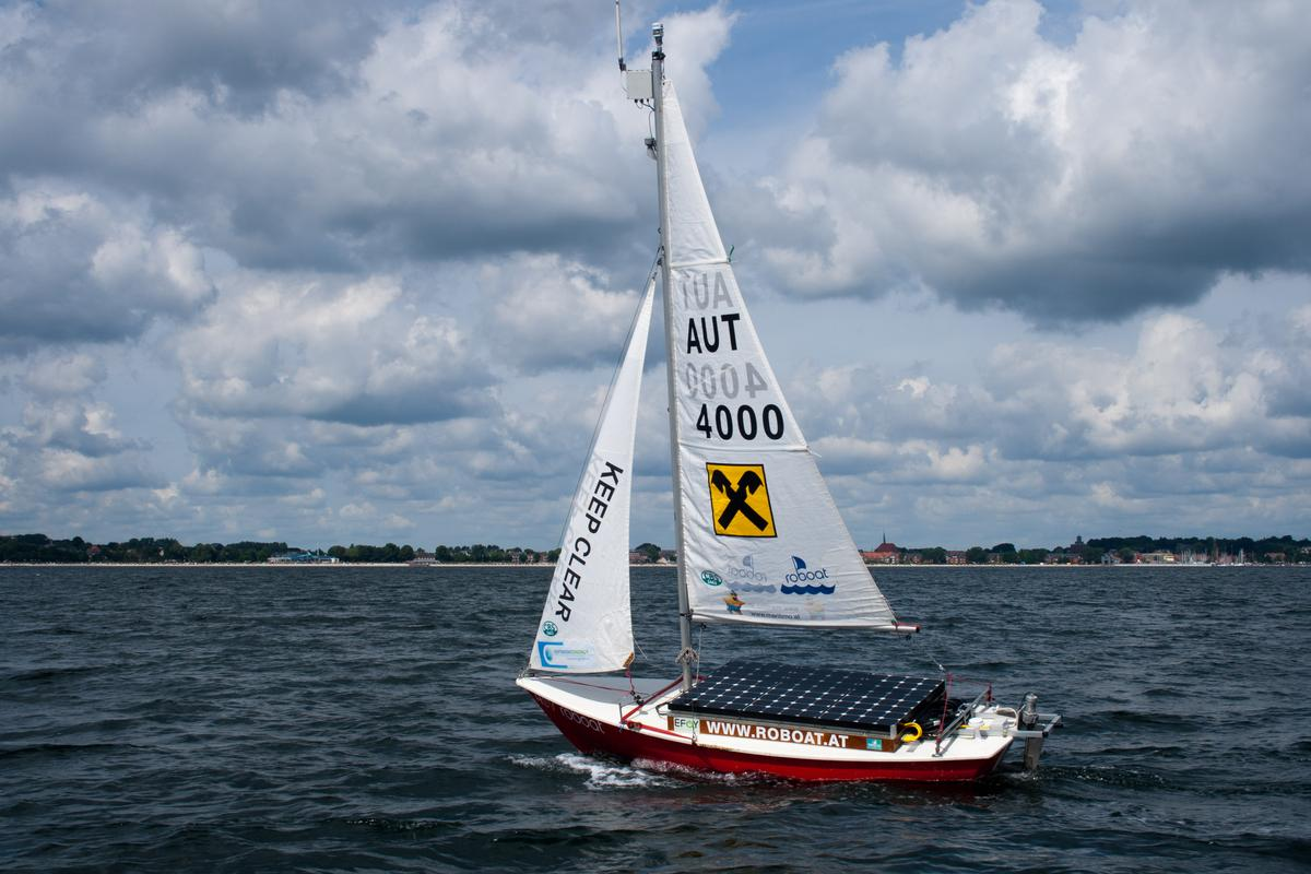 The ASV Roboat that will attempt to set a world record while conducting a study of the endangered harbor porpoise in the Baltic Sea