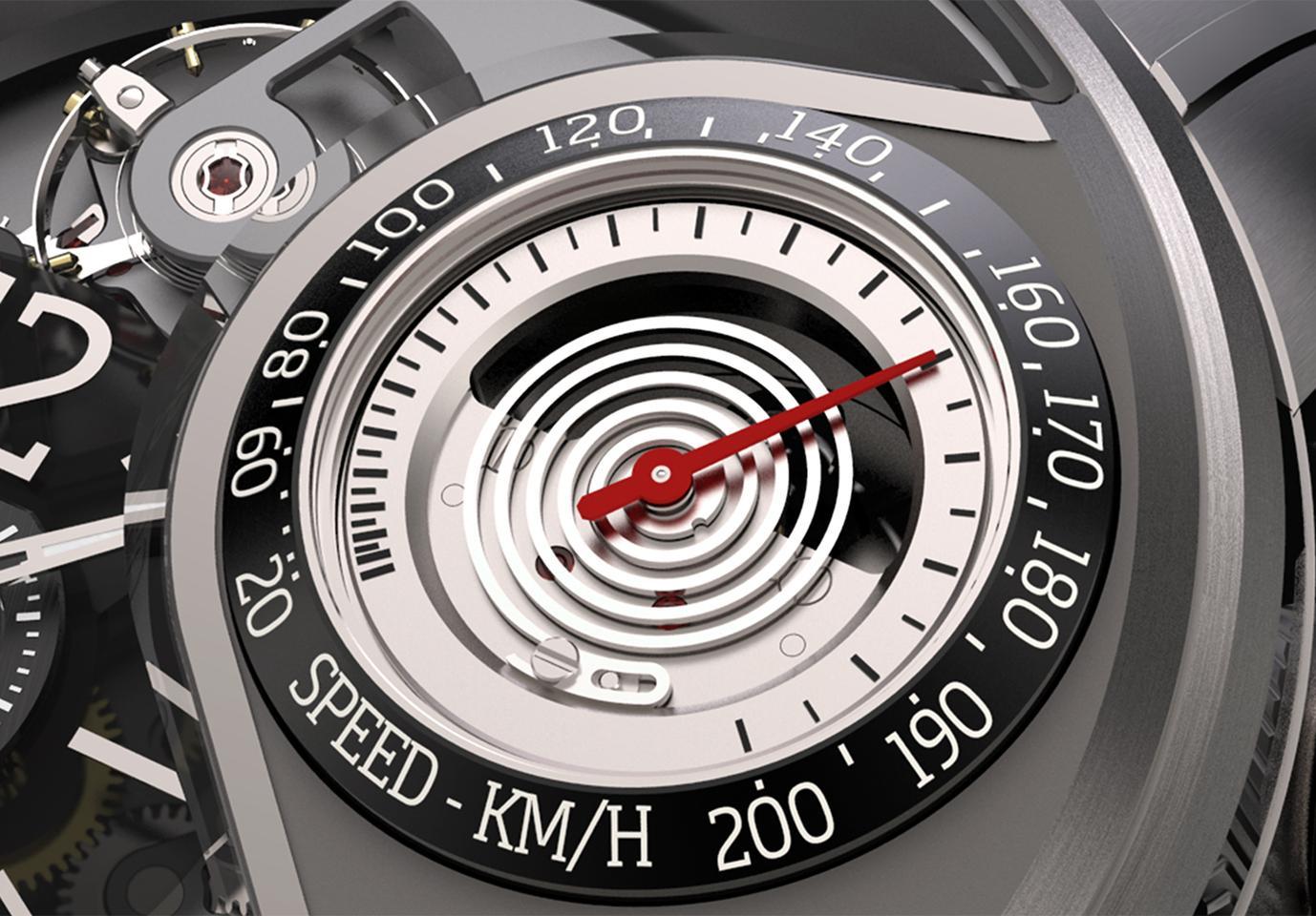 The Breva Génie 03 speedometer dial
