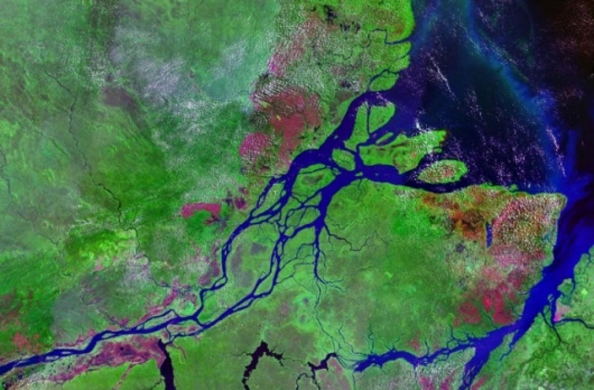 Where the river meets the sea - salt and freshwater could be used like a giant battery (Image of Amazon Estuary via NASA)