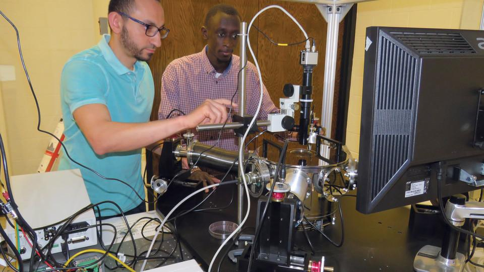 Mahmoud Elzouka, left, and Sidy Ndao, right, developed the thermal diode