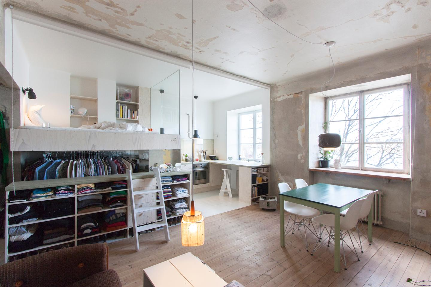 Swedish architect Karin Matz transformed an abandoned space it into a multi-purpose tiny home