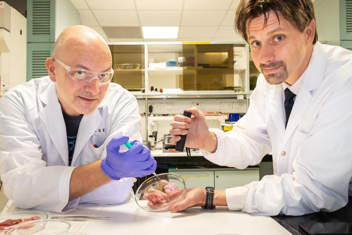 Dr. Ivan Djordjevic (left) and Assoc. Prof. Terry Steele demonstrate their CaproGlu