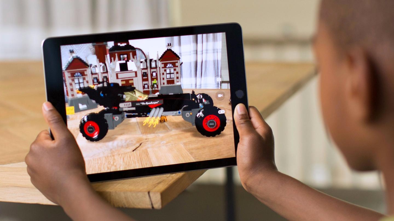 An Apple ARKit demo, viewing Lego Batman through the lens of an iPad Pro