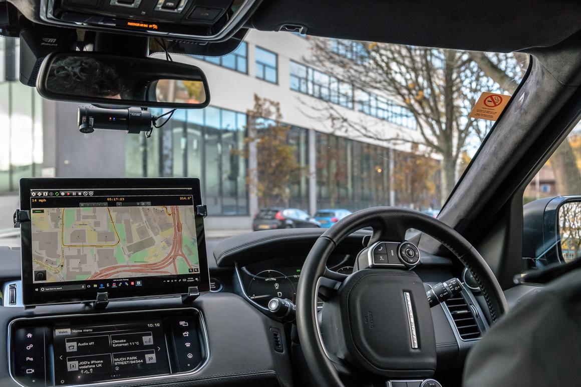 The cabin of a self-driving Jaguar Land Rover research vehicle