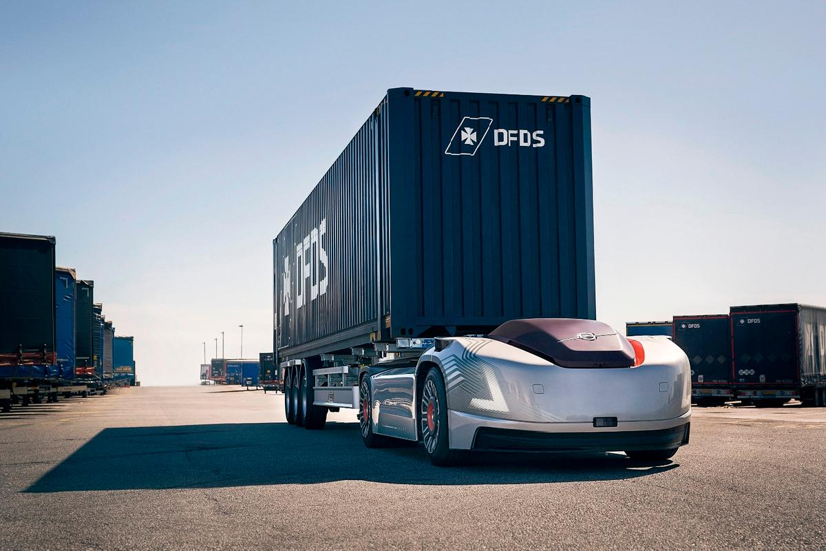 Volvo Trucks' Vera is set to go to work moving containers around a logistics center in Sweden