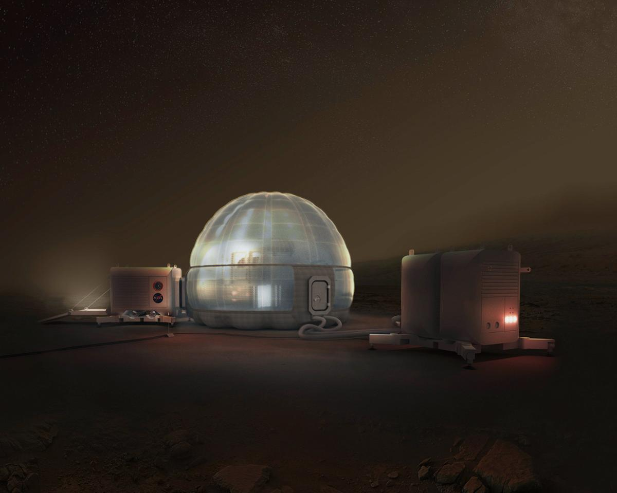 The Mars Ice Home is an inflatable structure that makes use of locally derived water to shield inhabitants against cosmic rays