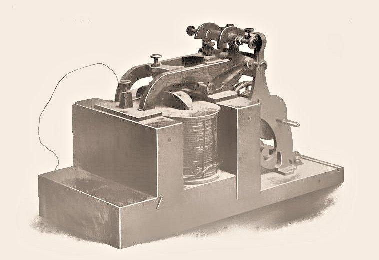 Early photograph of the Morse-Vail telegraph receiver used in their 1844 demonstration of telegraphy (Photo: Alfred Vail via Early History of the Electro-magnetic Telegraph)