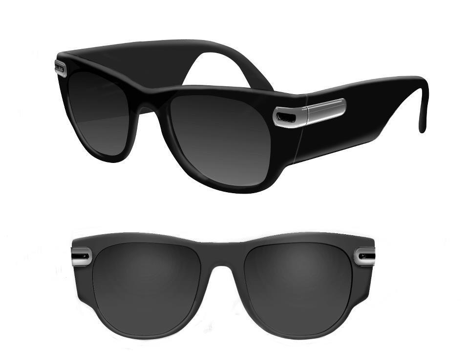 One of the possible consumer models of PairASight-equipped glasses