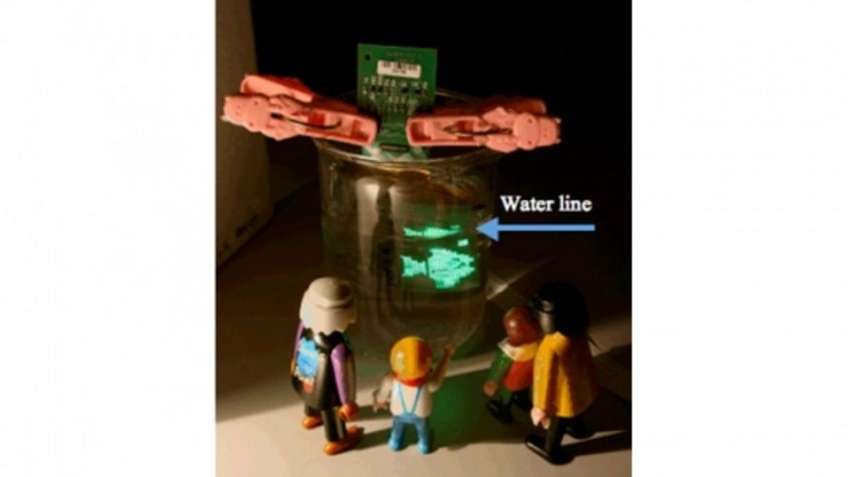 Some Playmobil people enjoy the underwater flexible OLED display