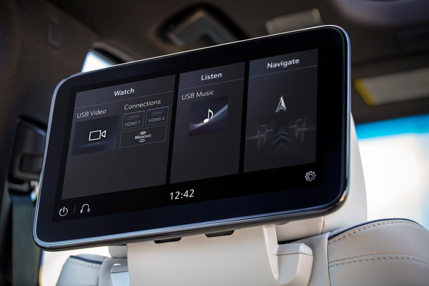 The rear seat entertainment unit in the 2021 Cadillac Escalade features smart ideas like navigation that can be sent forward to the driver