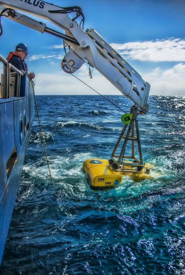 Hercules ROV being lowered into the water