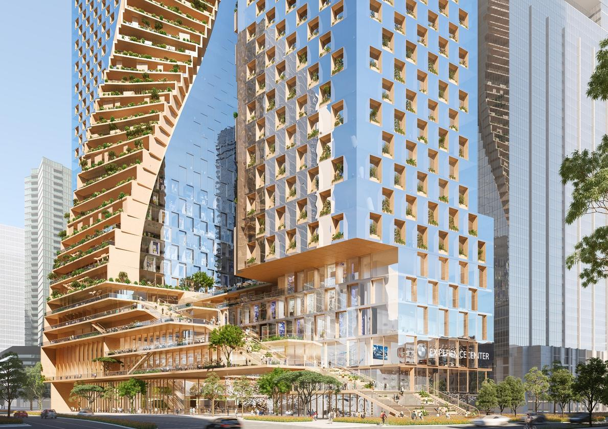 UNStudio and Cox Architecture's Green Spinebeat top names like BIG, MAD, and MVRDV in a high-profile architecture competition