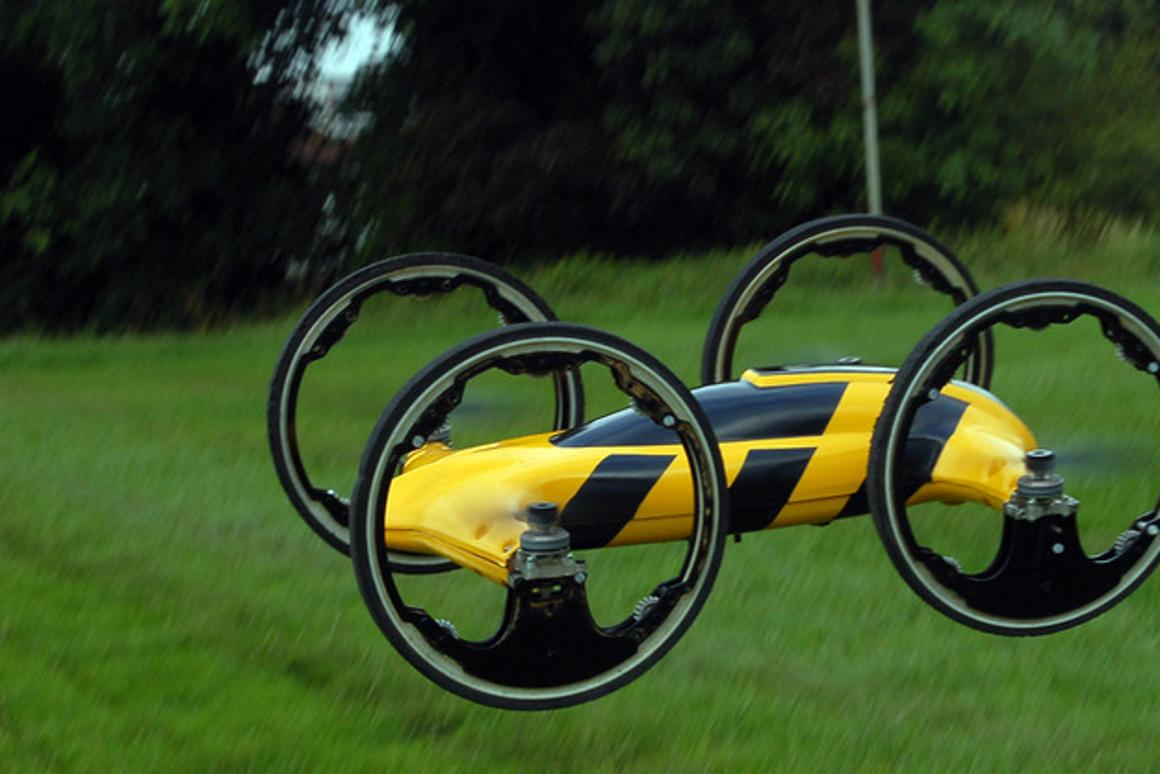 B is a combination RC car and quadcopter, which can be driven or flown