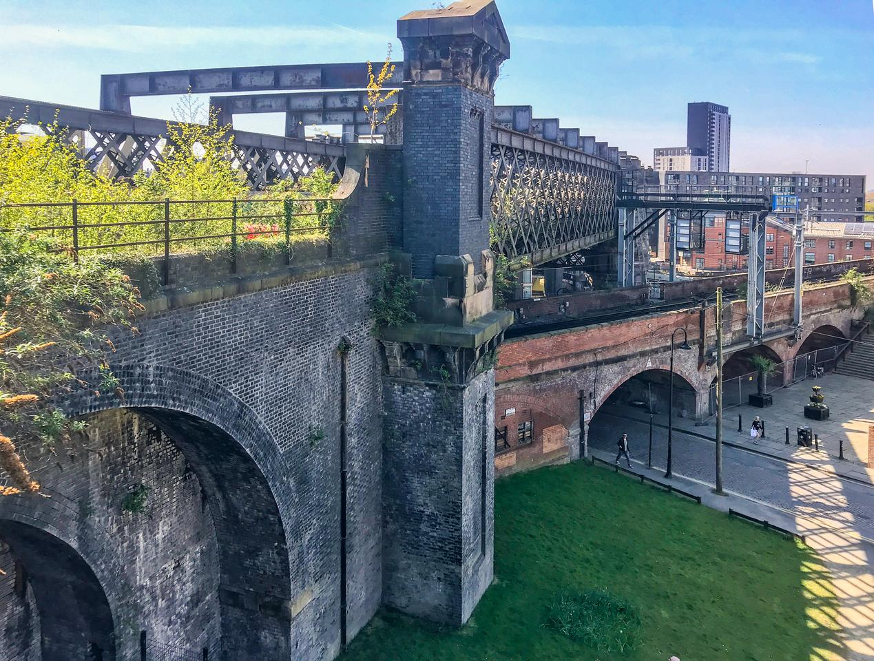 The Castlefield Viaduct on which the High Line-style park will be built has become dilapidated and greenery already grows on it naturally
