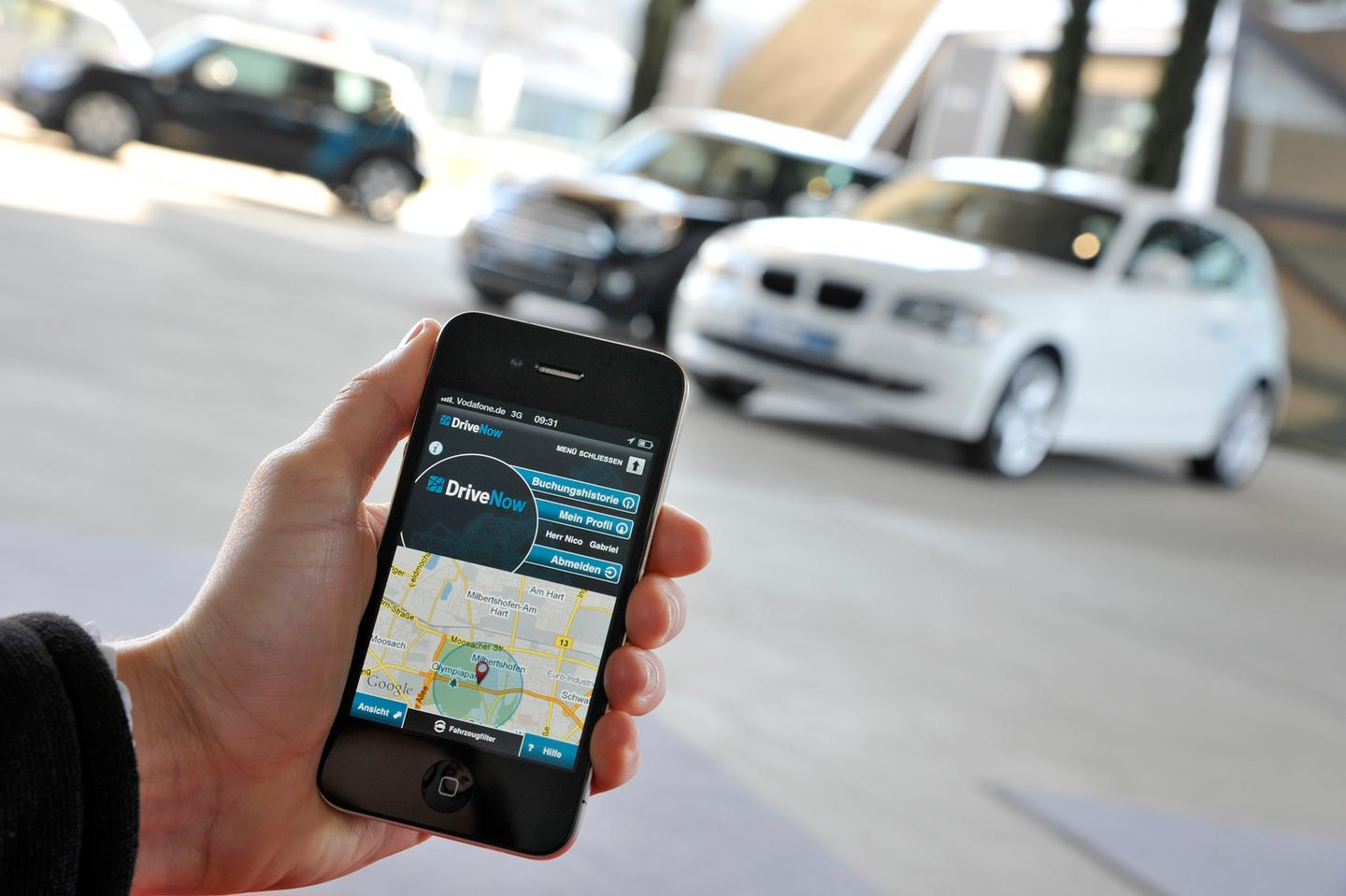 DriveNow members can find cars via the Internet or a smartphone app