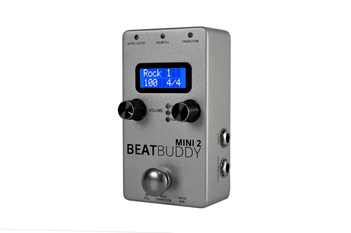The stomp switch on the BeatBuddy Mini 2 has a bare foot-friendly rounded top