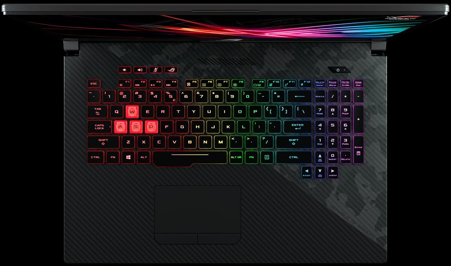 The Strix SCAR II (GL704) sports a desktop-style RGB backlit keyboard with an overstroke feature, which actuates on half-press keystrokes for improved response times