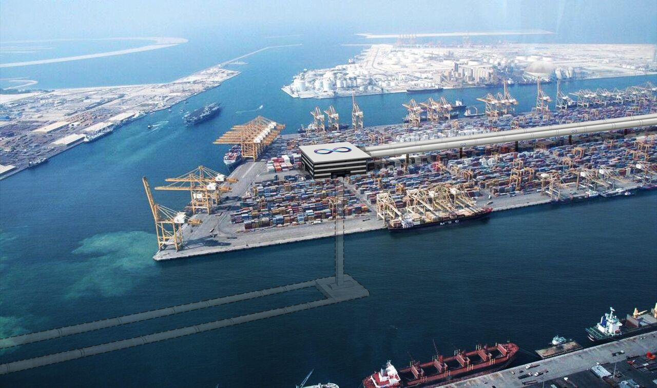 A concept rendering of an underwater Hyperloop next to a Dubai port
