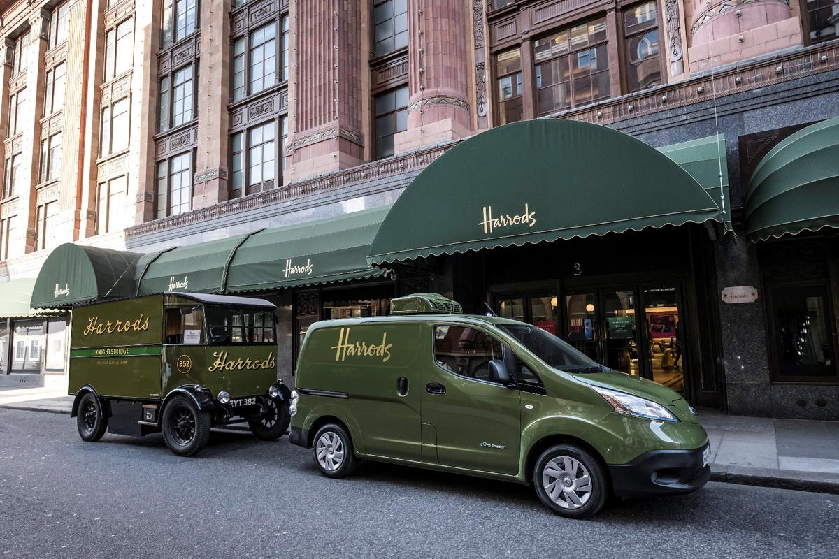 The new e-NV200 joins one of the original Harrods delivery vans