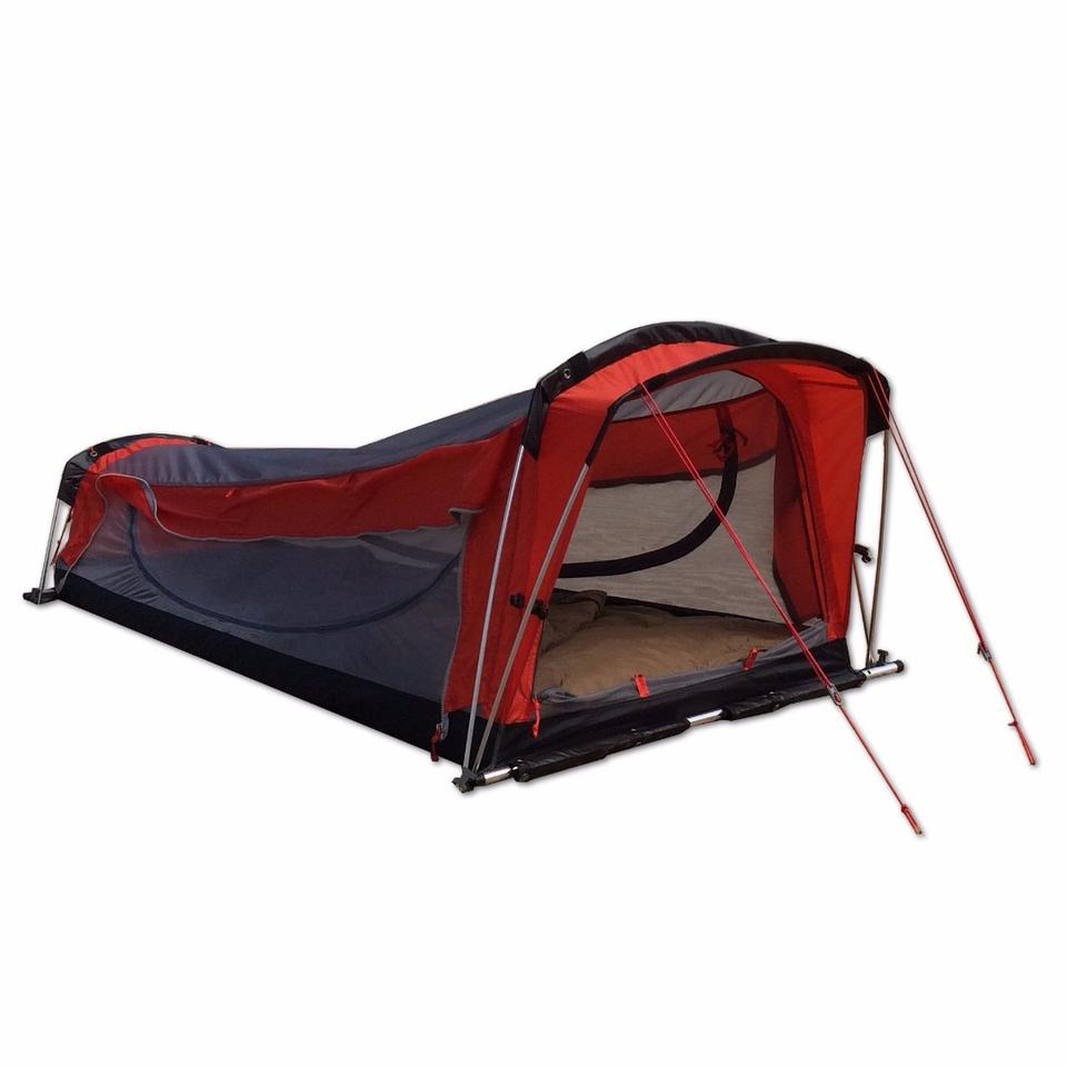 With its aluminum frame and guy lines, the Crua hybrid serves as a ground shelter