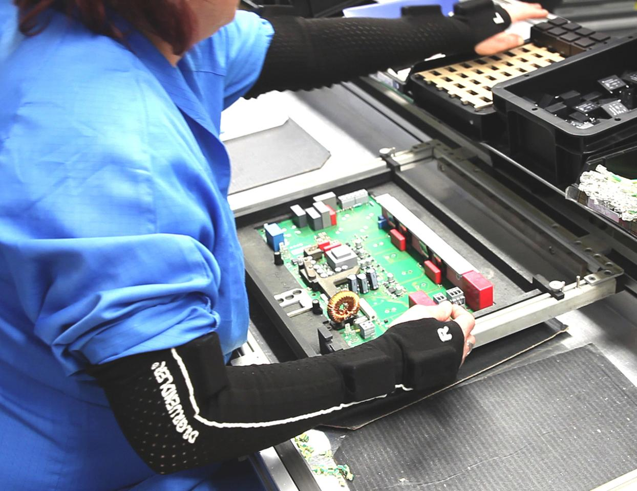 Sleeves equipped with sensors have been developed to time the actions of factory workers, in order to increase efficiency