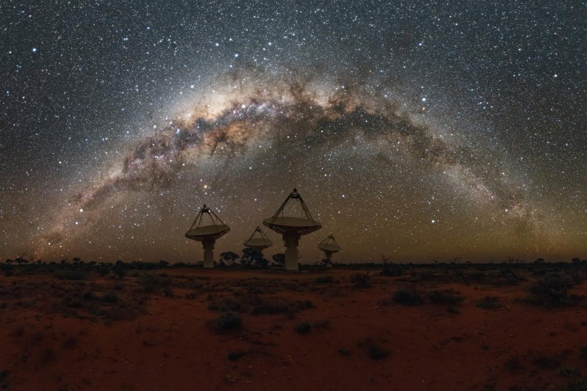 The ASKAP telescope array is spread across the Australian Outback