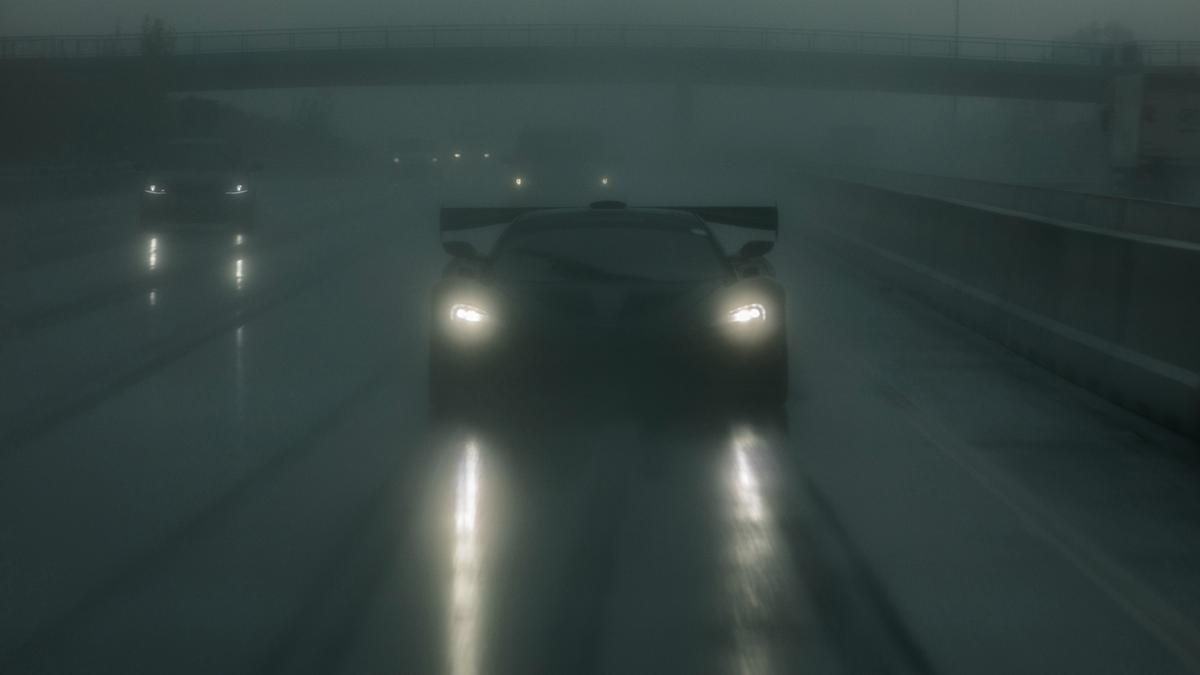 The McLaren P1 LM homeward bound  on a choked autobahn after setting the fastest production car lap of the world's most demanding closed circuit