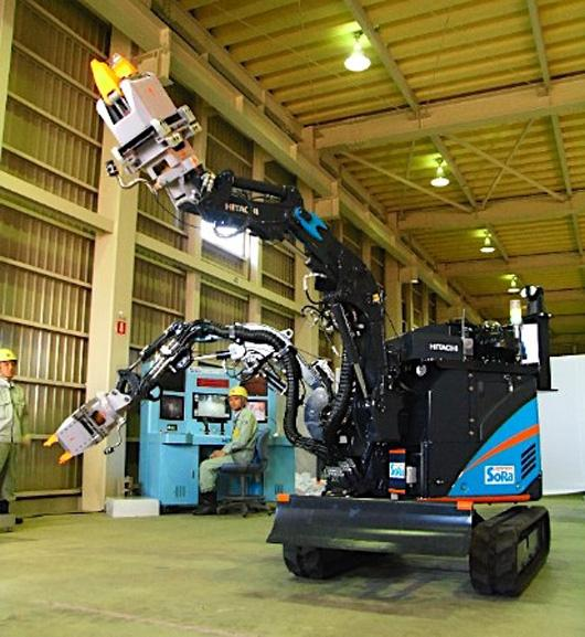 Hitachi's ASTACO-SoRa robot has two arms which can lift up to 150 kg (330 pounds) each, and can exchange its tools at the work site