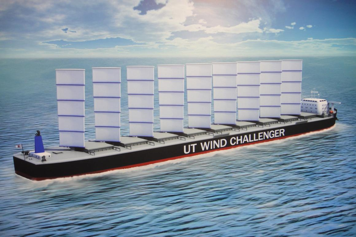 Depiction of a cargo ship equipped with the Wind Challenger Project system of sails