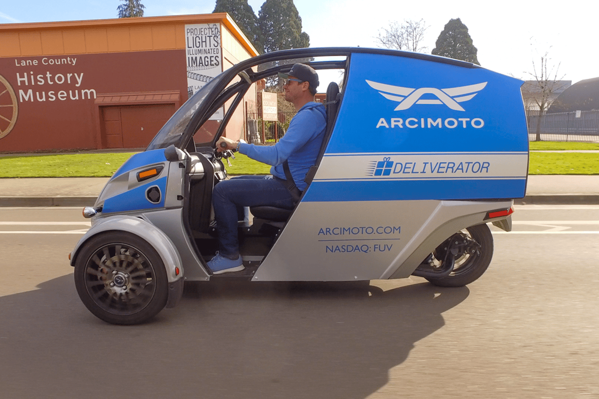 Carry It Forward will use Arcimoto's newest Deliverator to transport emergency supplies to unhoused communities in Eugene and Springfield