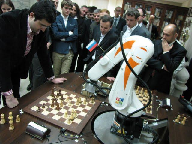 Vladimir Kramnik squaring off against the Chess Terminator