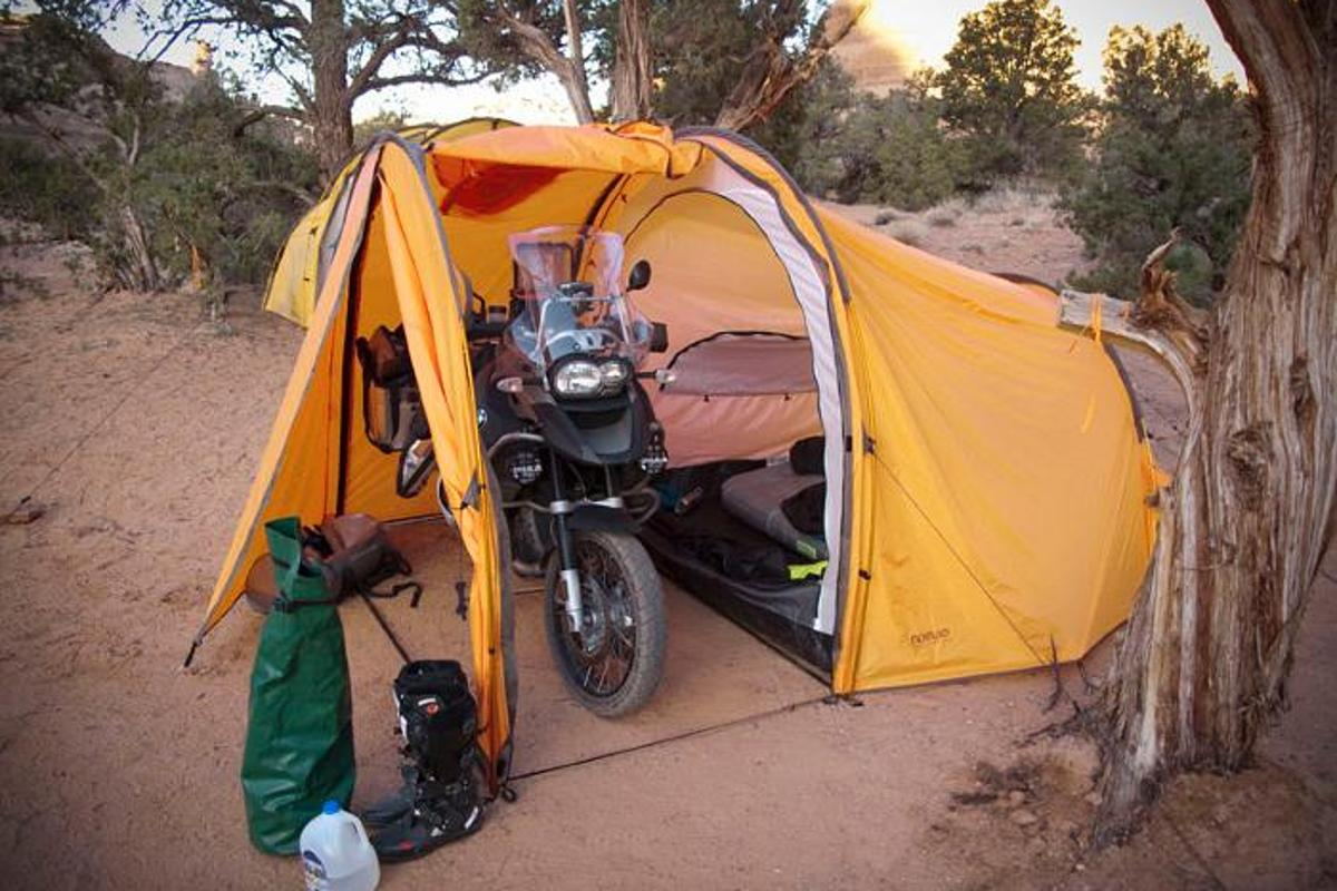 The Series II Expedition Tent keeps you and your motorbike safe from the elements