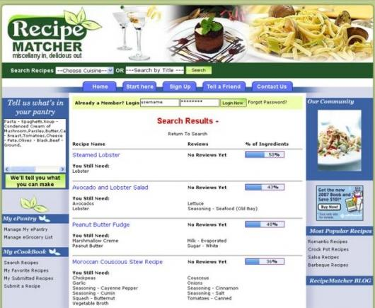 Recipe Matcher turns the cookbook upside down to use ingredients you've already got.