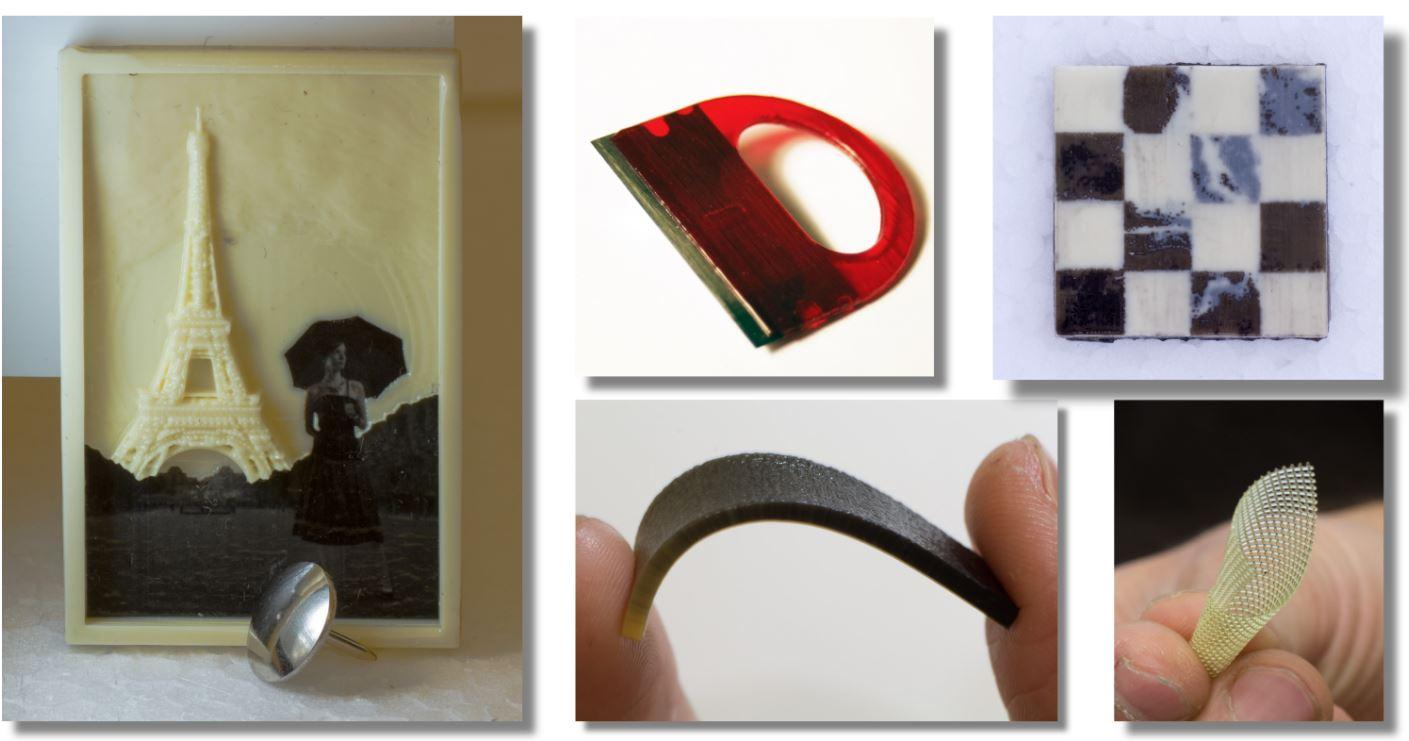 Examples of multi-material items printed by the MultiFab 3D printer