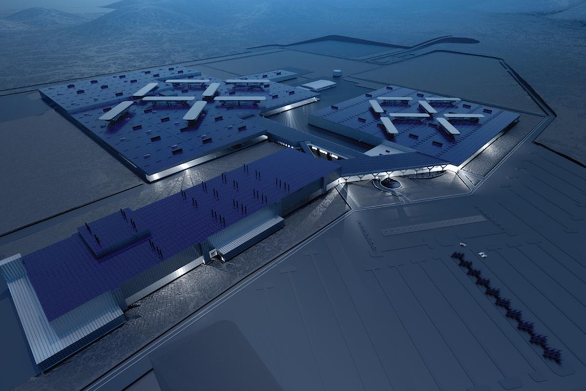 The US$1 billion Faraday Future facility will cover an area of 900 ac (364 ha)
