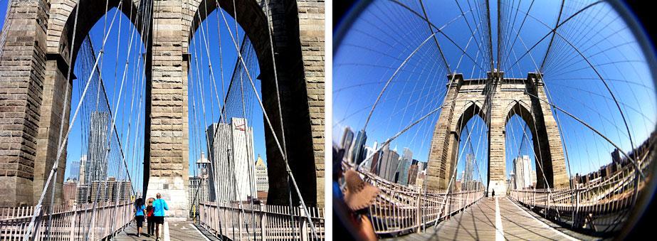 Comparison shots of Brooklyn Bridge using the fisheye (right) and the regular iPhone lens (left) (Photos: Schneider Optics)