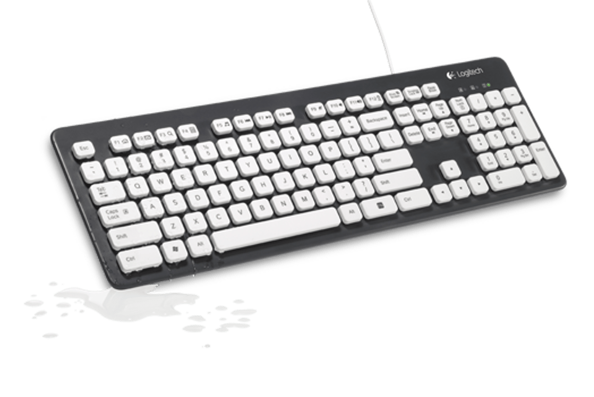 Logitech's new K310 keyboard is designed to be hand-washed in a sinkful of water thanks to a durable design and drainage holes on the bottom