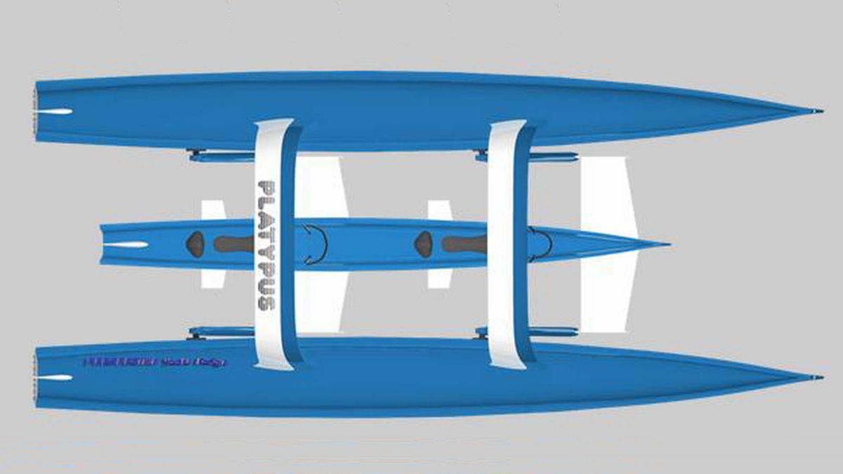The Platypus has the shape of a catamaran with a submersible pod located between the floats and linked by electric articulated arms.
