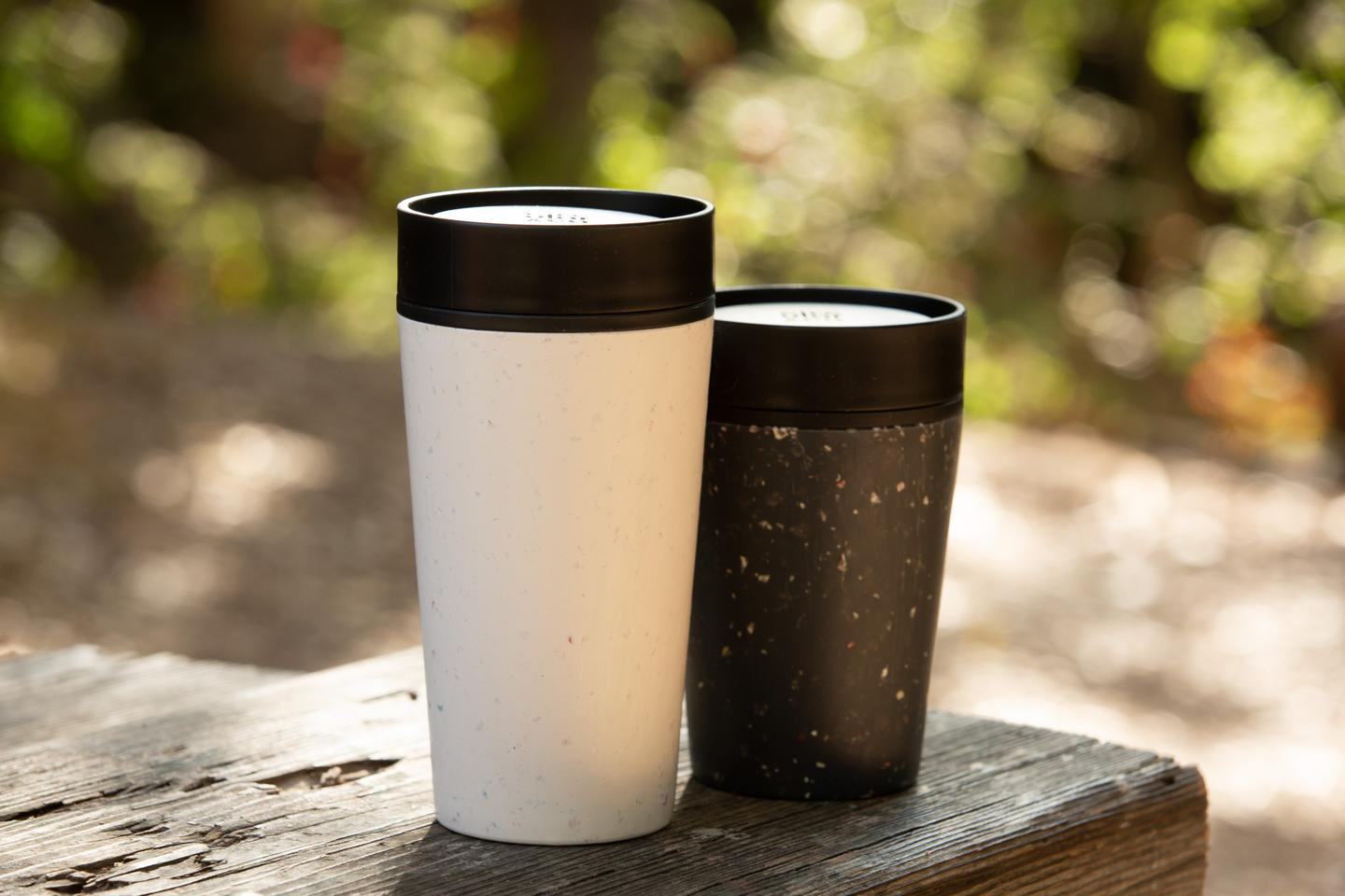 The Circular Travel mug starts off as recycled material and ends up that way