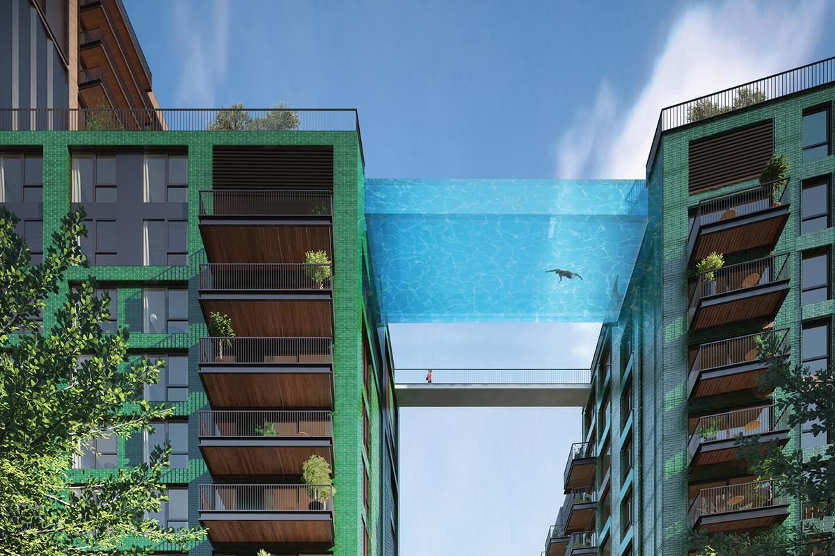 The Sky Pool is suspended at a height of 35 m (114 ft) between two apartment buildings