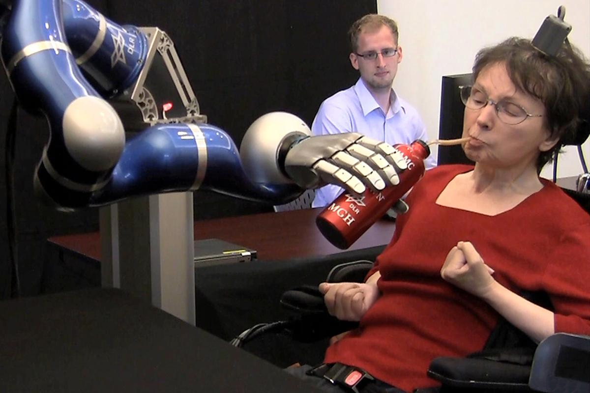 A paralyzed woman has used the experimental BrainGate neural interface system to get herself a drink of coffee, via a thought-controlled robotic arm