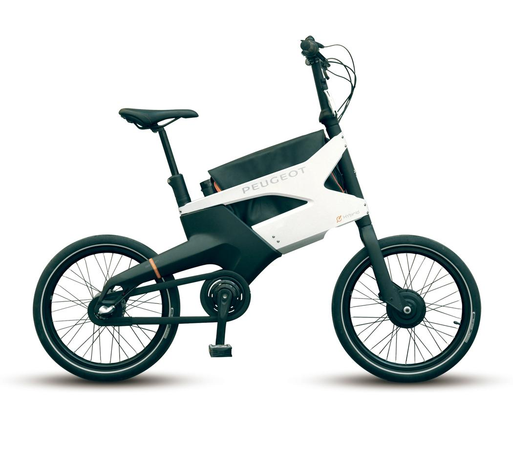 Peugeot's AE21 Hybrid electric bike features folding handlebars and pedals for easier storage