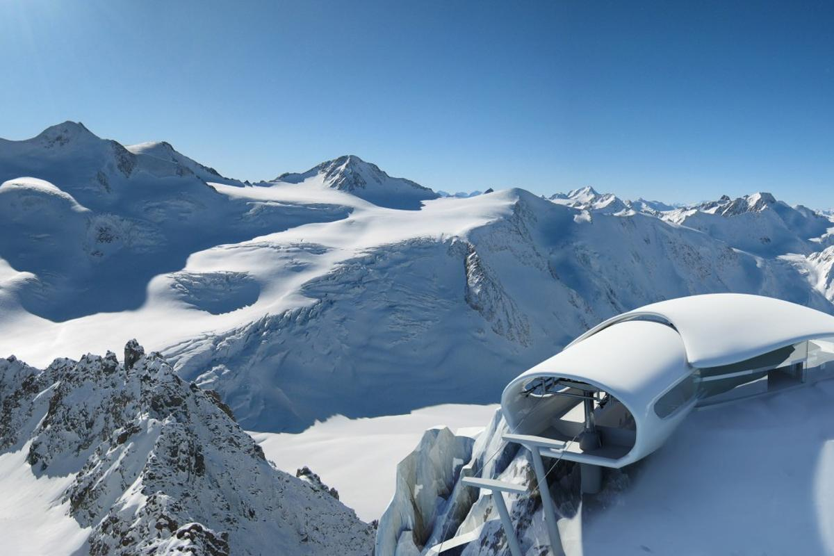 Austria's highest cable car and visitor center was unveiled late last year, located at the very top of the Pitzal Glacier (Image: Pitztaler Gletscherbahn)