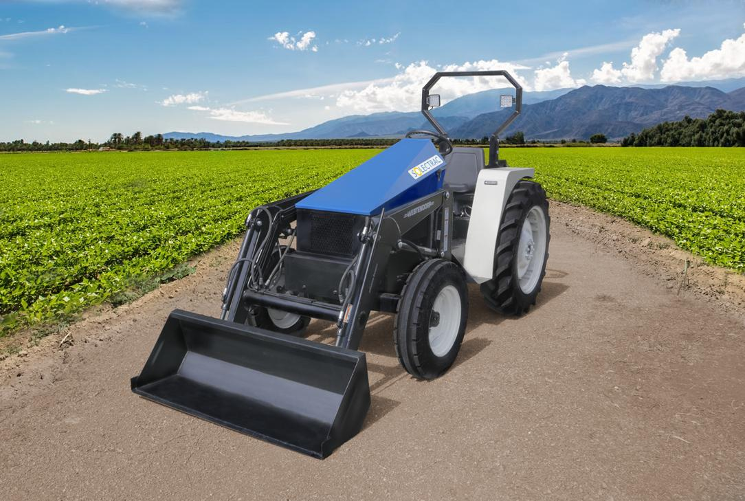The eUtility Electric Tractor has an 8-speed transmission (forward and reverse)