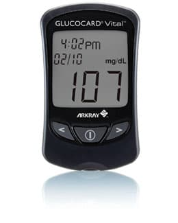 Glucocard Vital meter can produce a test result in about seven seconds
